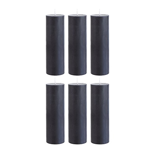 "Mega Candles - Unscented 2"" x 6"" Hand Poured Round Premium Pillar Candle - Black, Set of 6"