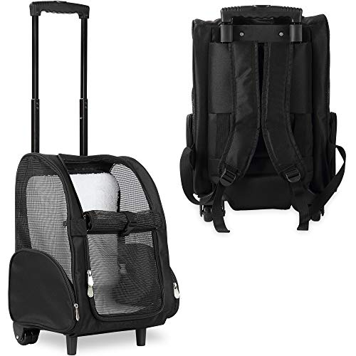 KOPEKS Deluxe Backpack Pet Travel Carrier with Double Wheels - Black - Approved by Most Airlines 1