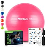 URBNFit Exercise Ball (55 cm) for Stability & Yoga - Workout Guide Incuded - Professional Quality (Pink)