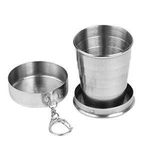 LINSUNG Taza Plegable de Acero Inoxidable para Senderismo, 150 ml 5