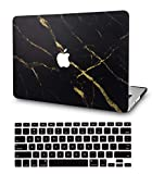 LuvCase 2 in 1 Bundle Rubberized Plastic Hard Shell Cover with Keyboard Cover Compatible MacBook Pro 15 Touch Bar Case A1990/A1707 2019/2018/2017/2016 (Black Gold Marble)