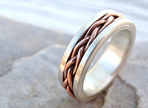 hand braided ring silver copper, unique wedding band silver copper ...