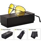 Night Vision Glasses for Driving - Feirdo HD night driving glasses anti glare polarized mens women glasses (black gun/yellow)