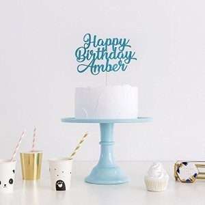 Happy Birthday All Ages Birthday Cake Topper Party Decoration. Personalised with Custom Name and Age. Any Glitter Colour Cake Decoration. Teal Glitter. NEW FONT 41889r3jC6L