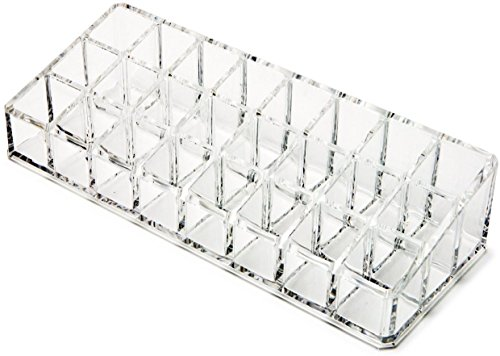 Flipco Luxuries Clear Acrylic Makeup Organizer Holder-Transparent Cosmetic Makeup Organizer for Lipstick, Brushes, Bottles, and more (24 Compartment)