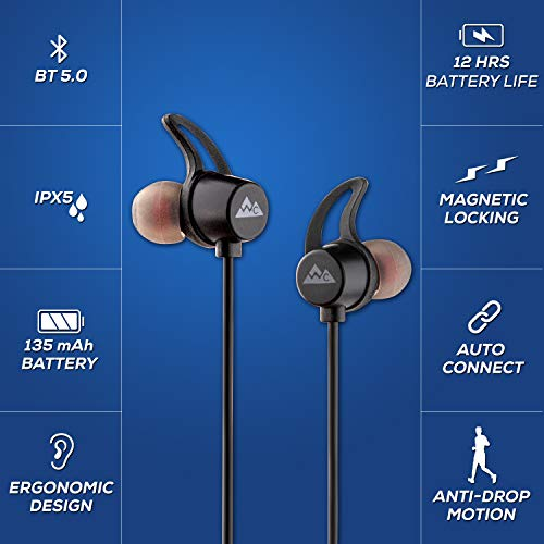 418CXSVS5fL WeCool N1 Bluetooth Headphones with Dynamic Drivers for Immersive Music Expertise, IPX5 Sweatproof, 12 Hours Playtime, Versatile Neckband Earphones (Black)