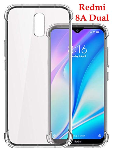 Jkobi for Redmi 8A Dual Silicon Flexible Shockproof Corner TPU Back Case Cover -Transparent 175