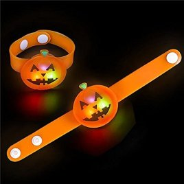 Halloween Light Up Jack-O-Lantern Snap Bracelet Party Supplies (12 pack)