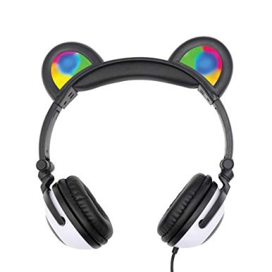 Gabba-Goods-Premium-LED-Light-Up-in-The-Dark-Panda-Over-The-Ear-Comfort-Padded-Stereo-Headphones-with-AUX-Cable-Earphones