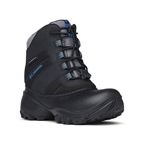 Columbia Youth Rope Tow I Waterproof Winter Boot , Black/Dark Compass, 6 M US Big Kid