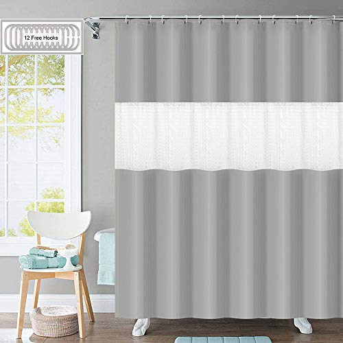 Shower Curtain with 12 Hooks, [2019 Upgraded] 3D Pattern PEVA 12G Bathroom Shower Curtains Set, 72' W x 78' H for Showers, Stalls, Spa, Hotel Luxury, Water Repellent, Eco-Friendly (Gray)