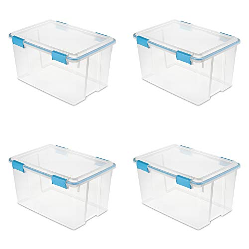 Sterilite 19344304 54 Quart/51 Liter Gasket Box, Clear with Blue Aquarium Latches and Gasket, 4-Pack