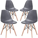 Nicemoods Armless Classic Eames Plastic Chair, Mid Century Modern Style Dining Chairs Indoor Wooden Legs Set of 4 for Kitchen, Dining Room, Bedroom, Living Room Side Chairs (White)