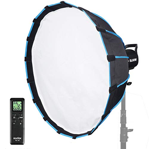 Godox SL60W Kit with Soft Box Softbox (Special Design for SL-60W) 5600K Studio Continuous LED Video Light Lamp 5600K Bowens Mount for Video Recording,Wedding,Outdoor Shooting