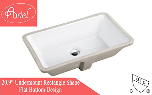 ARIEL 20.9 Inch Rectrangle Undermount Vitreous Ceramic Lavatory Vanity Bathroom Sink Pure White