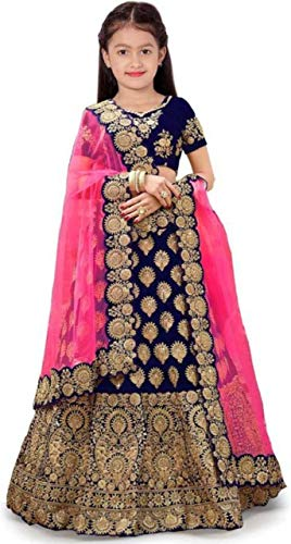 The fashion prime Girl's Tafetta Sattin Semi-Stitched girl's Lehenga Choli for 6-15 Year Girls