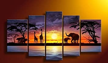 Sangu 100 Hand Painted Wood Framed Sunset Elephants African Home Decoration Modern Oil Paintings Gift