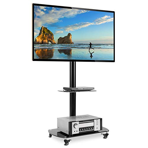 Rfiver Black TV Cart Mobile TV Stand with Swivel Mount, Rolling Wheels and AV Shelves for Most 32 37 42 47 50 55 60 65 inch Flat Curved Screen TVs,Height Ajustable TF8001