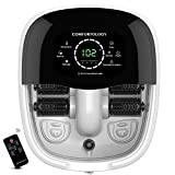 Comfortology Aura Foot Spa Massager - Super Fast Heating System, 4 Motorized Massaging Rollers, Whisper Quiet, 10L Bath Tub With Remote Control