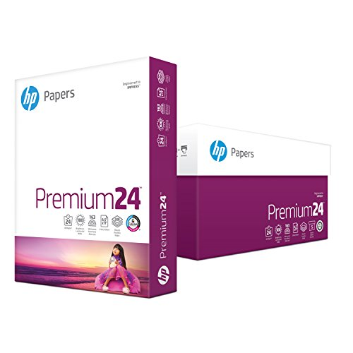 HP Printer Paper, Premium24, 8.5 x 11 Paper, Letter Size, 24lb Paper, 98 Bright, 5 Reams / 2,500 Sheets, Presentation Paper, Acid Free Paper (115300C)