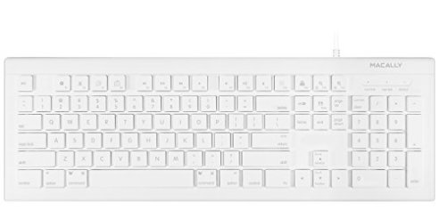 4c6ea8cdb6f Macally Full Size USB Wired Keyboard (MKEYE) for Mac and PC (White)