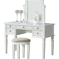 Bobkona Vanity Table With Stool Set, White