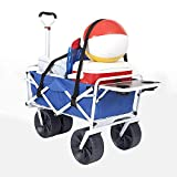 Mac Sports Heavy Duty Collapsible Folding All Terrain Utility Beach Wagon Cart with Side Table and Straps, Blue/Black