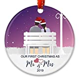 Creawoo Our First Christmas as Mr.& Mrs. Ornament 2019, Newlywed Wedding Gift Unique Christmas Ornament Ceramic Housewarming Gift Xmas Tree Decoration