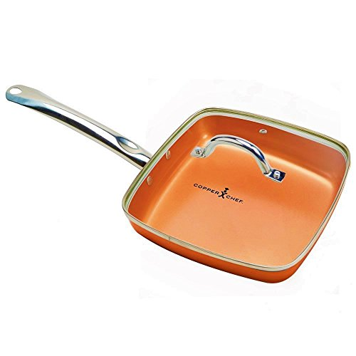 Copper Chef 9.5 Inch Square Frying Pan With Lid -Skillet with Ceramic Non Stick Coating. Perfect CookwareForSaute And Grill
