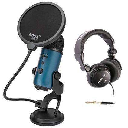 Blue-Microphones-Yeti-Teal-USB-Microphone-Bundle-with-Studio-Headphones-and-Knox-Pop-Filter