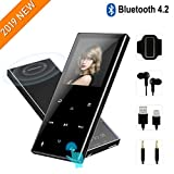 MP3 Player with Bluetooth 4.2-2019 New Updated Model,8GB HiFi Lossless Mp3 Player with Touch Buttons,62 Hours Playback,Support Up to 128GB,Built-in Speaker, FM Radio,Pedometer,Recording,Black