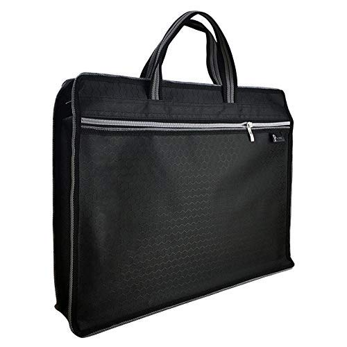 Q Two - Business Briefcase Zipper Bag - Document File Laptop Briefcase, Waterproof, Lightweight Travel for Notebook, Portfolio, Files, Books, Home, School, Office, Meetings (B4 Size) (Black)