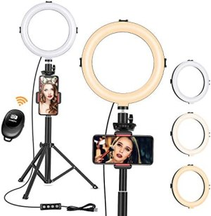 8″ Ring Light with Tripod Stand – Dimmable Selfie Ring Light LED Camera Ringlight with Tripod and Phone Holder for Live Stream/Makeup/YouTube Video, Compatible for iPhone Android, Remote(Upgraded)