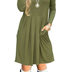 b8ad954645c8 AUSELILY Women's Long Sleeve Pleated Loose Swing Casual Dress with Pockets  Knee Length ...