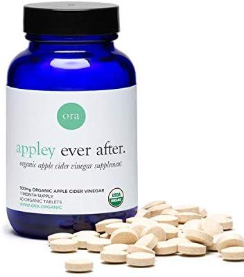 Ora Organic Apple Cider Vinegar Pills - ACV Metabolism Booster, Detox Cleanse, Weight Management - Organic Apple Flavor, 1 Month Supply, 60 Vegan Tablets 1