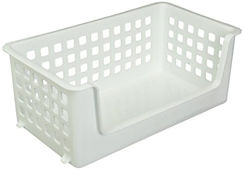 Rubbermaid Slide 'N Stack Basket, 14-inch, White (FG5582RDWHT)
