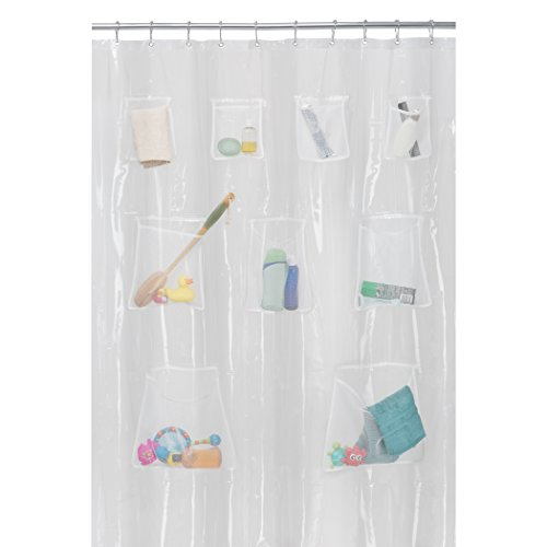 MAYTEX Quick Dry Mesh Pockets PEVA Shower Curtain Or Liner Bath Organizer Clear 70 Inches X 72