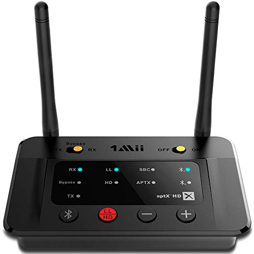 1Mii B03Pro Long Range Bluetooth 5.0 Transmitter Receiver Bluetooth Audio Adapter Bluetooth Transmitter for TV PC Home Stereo, aptX HD & Low Latency, Optical RCA AUX 3.5mm
