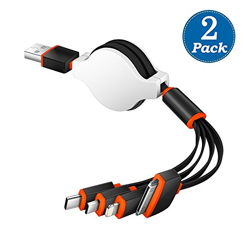 KINGBACK Multi Charging Cable 2 Pack Retracrable 4 in 1 Multifunctional USB Cable Adapter Connector with Type C/Micro USB Port for Cell Phones Tablets and More