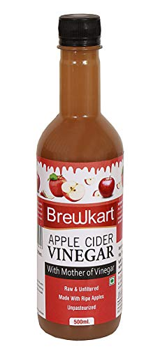 Brewkart Apple Cider Vinegar ACV with Mother of Vinegar   Raw , Unfiltered , Unpasteurized – 500 ml Pack of 1