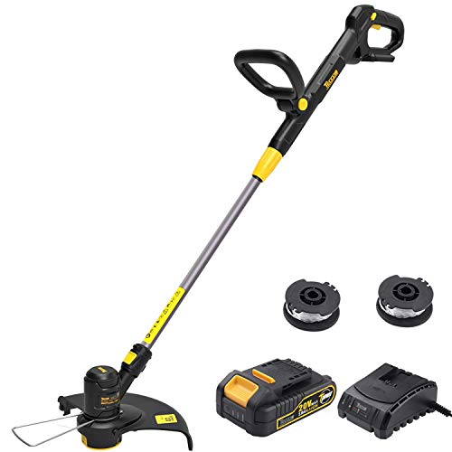 String Trimmer, TECCPO 20V 2Ah Lithium Ion, 2 16ft Nylon Thread Spool, Automatic Feed Spool, 12in Cutting Swath, Cordless Professional Grass Trimmer/Edger, Battery and Charger Include - TDLT02G