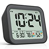 Battery Operated Alarm Clock, Small Simple Travel Alarm Clock with Indoor Thermometer & Digital Hygrometer, Loud Dual Alarm Clock for Bedrooms, Bedside, Desk, Teens, Kids & Heavy Sleepers - Black