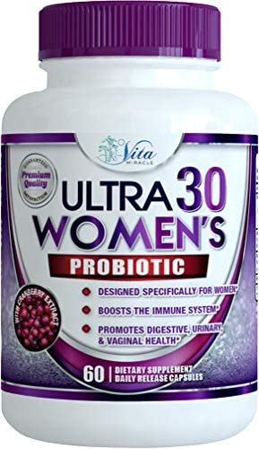 Probiotics for Women 30 Billion - 18 Strains with Cranberry Extract Best Probiotic Supplement for Digestive and Urinary Health Shelf Stable Delayed Release Veggie Capsule + Prebiotic Supplements 1