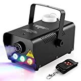 Joypea Halloween Fog Machine,500W Wireless Remote Control Portable Smoke Machine with 7 Color LED Lights,fast heating,for Holidays Parties Weddings Stage Club Bar,- Metal Black