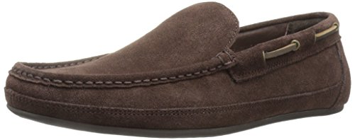 Moccasin-style loafer featuring suede upper and wraparound lacing with metallic eyelets Removable comfort insole