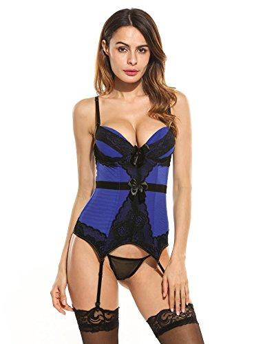 Ekouaer Women s Bustier Corset Sexy Girdle Waist Cincher With Garter Belt  (Blue ee98582b0