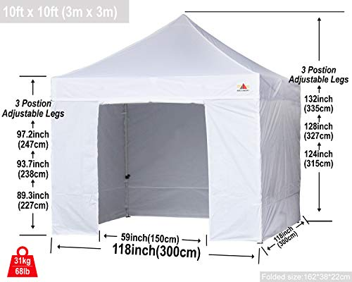 ABCCANOPY-Canopy-8x8-Pop-Up-Commercial-Canopy-Tent-with-Side-Walls-Instant-Shade-Bonus-Upgrade-Roller-Bag-4-Weight-Bags-Stakes-and-Ropes