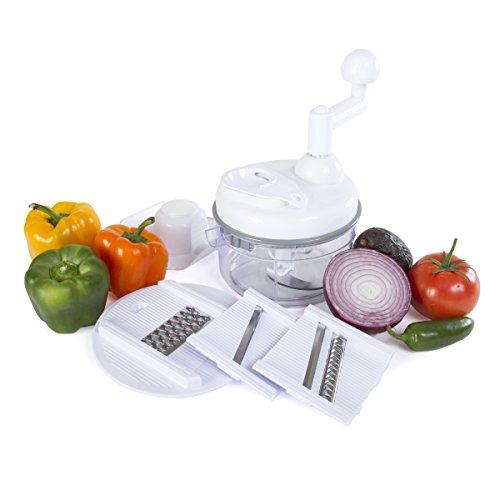 Kitchen + Home Manual Food Chopper - 4 in 1 Miracle Chopper, Salsa Maker, Blender, Slicer, Shredder and Julienne – As Seen on TV Manual Food Processor