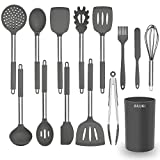 Silicone Cooking Utensil Set, AILUKI Kitchen Utensils 14 Pcs Cooking Utensils Set,Non-stick Heat Resistant Silicone Spatula Set, Cookware with Stainless Steel Handle - Grey