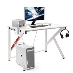 COZUHAUSE K-Shaped Computer 42 inch Gaming Desk White Smooth PVC Pattern with Shelf for Plug Board,Headphone Hook,2 Wire Take-up Hole and Cup Holder Gaming Table Workstation